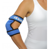 Blue ebow ice wrap on woman