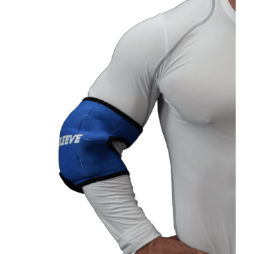 Man wearing form fitting black elbow Ice Sleeve