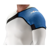 man wearing form fitting blue shoulder Ice Sleeve